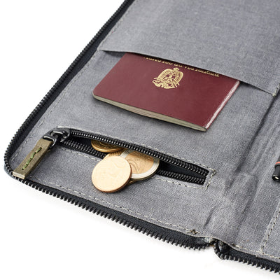 Coins pocket. Green leather passport wallet holder. Airport travel leather organizer accessories