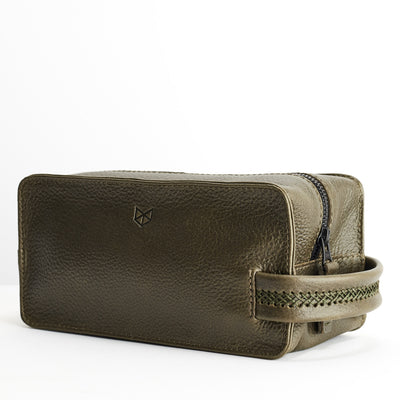 Side. Green leather toiletry, shaving bag with hand stitched handle. Groomsmen gifts