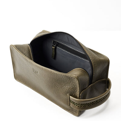 Interior pocket. Green leather toiletry, shaving bag with hand stitched handle. Groomsmen gifts