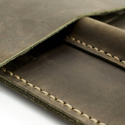 Green hand stitched iPad pro leather sleeve. iPad cover, iPad protector, hand stitched cases for men