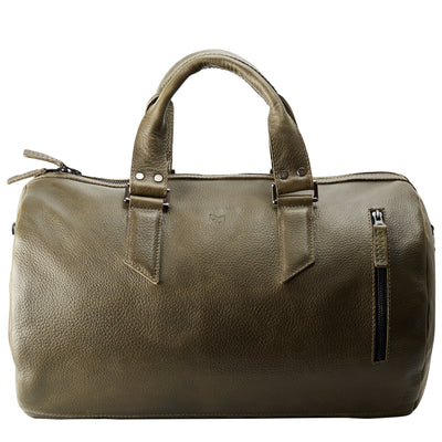 Duffle leather travel bag for men. Gym athletic bag