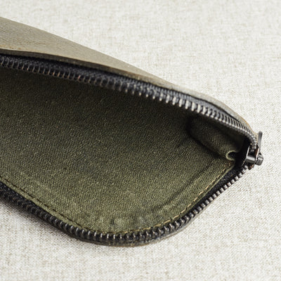 Style linen interior. Green leather glasses case for men. Custom handmade leather sleeve for mens glasses