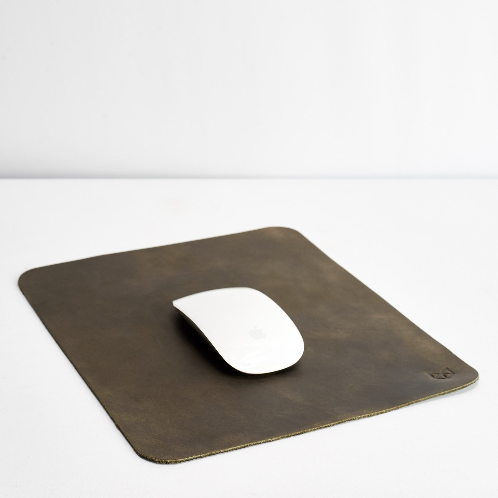 Minimalistic Green Leather Mouse Pad + Cable Organizers, Boyfriend gift, Mousepads, Personalized stationary, Custom office supplies