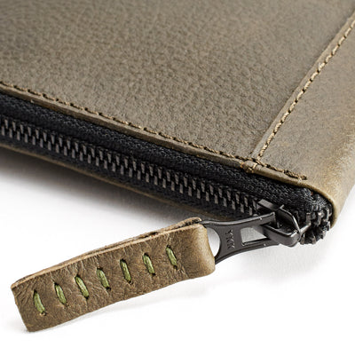 YKK zippers. Green leather passport wallet holder. Airport travel leather organizer accessories