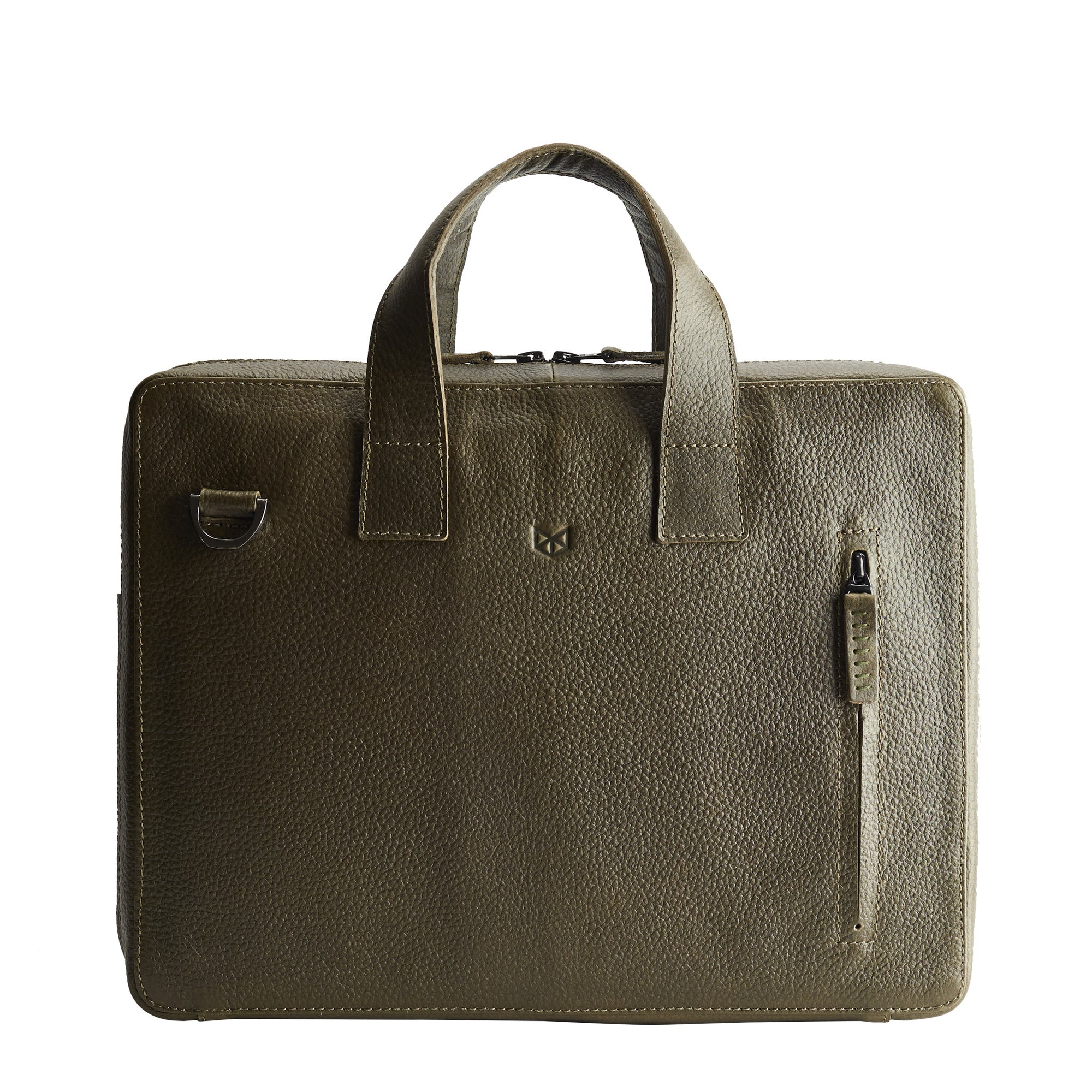 Green leather workbag for men. Unique office style bag