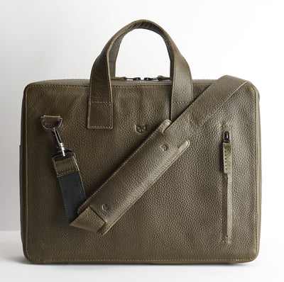 Extra padded shoulder strap.  Green leather briefcase for men. Office style mens workbag