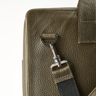 Suede detail. Green leather briefcase for men. Office style mens workbag
