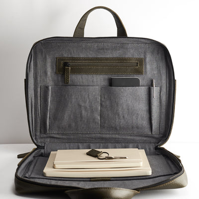 Interior pockets. Green leather briefcase for men. Linen interior. Workbag for Macbook Pro 13inch 15inch
