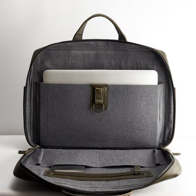Interior pocket detail. Green leather briefcase for men. Linen interior. Workbag for Macbook Pro 13inch 15inch