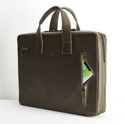 iPhone cellphone exterior pocket. Green leather briefcase for men. Office style mens workbag