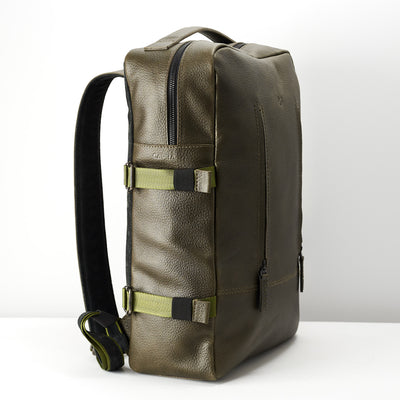 Angle. Green leather backpack for mens gifts. Custom monogram for leather backpacks