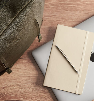 New MacBook Pro Touch Retina. Green leather backpack with linen interior