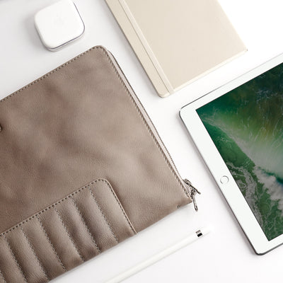 Apple accessories. Grey Leather Laptop Portfolio Case. Laptops & devices Bag.