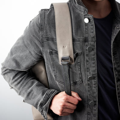 Style.Grey full grain leather mens backpack with laptop padded pocket