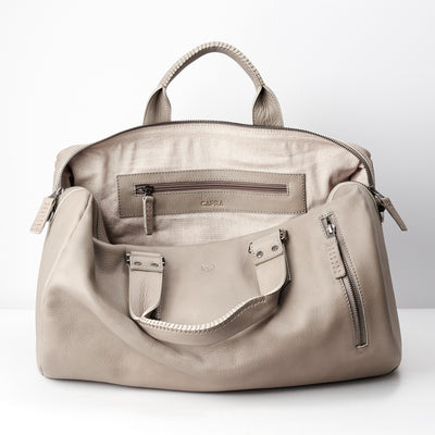 Linen interior. handcrafted Grey leather duffle bag for men. Grey leather carryall bag.