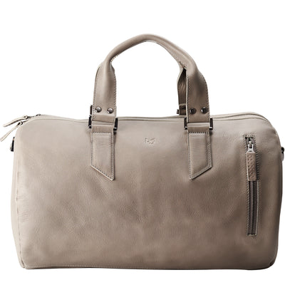 handcrafted Grey leather duffle bag for men. Grey leather carryall bag.