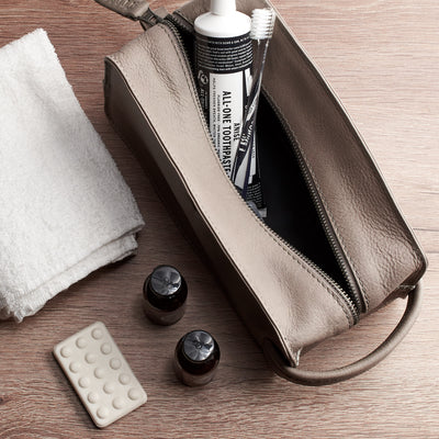Open. Grey leather shaving bag. Groomsmen gifts for men. Handmade leather travel toiletry bag