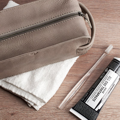 YKK metallic zippers. Grey leather shaving bag. Groomsmen gifts for men. Handmade leather travel toiletry bag