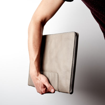 Style. Grey Leather Laptop Portfolio Case. Laptops & devices Bag.
