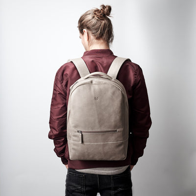 Mens minimalist bag. Grey full grain leather mens backpack with laptop padded pocket