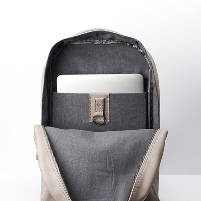 Magnetic keychain, Linen interior. Grey full grain leather mens backpack with laptop padded pocket