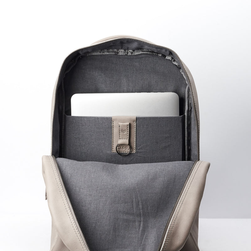 Gray unique designer leather backpack for men