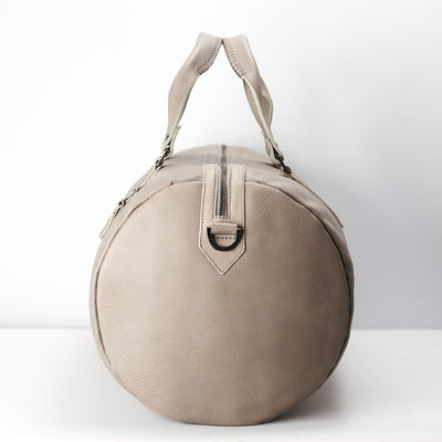 Barrel shape. handcrafted Grey leather duffle bag for men. Grey leather carryall bag.