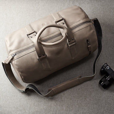 Travel bag. handcrafted Grey leather duffle bag for men. Grey leather carryall bag.