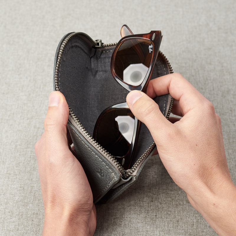 Gifts for men. Grey leather Glasses case, sunglasses case, hand stitched leather sleeve for reading glasses