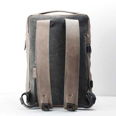 Padded shoulder straps. Gray leather backpack. Custom leather gifts for  men