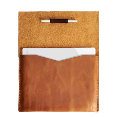 Soft interior. Google Pixelbook light brown leather sleeve for men