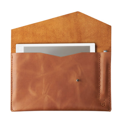 Light brown handcrafted leather reMarkable tablet case. Folio with Marker holder. Paper E-ink tablet minimalist sleeve design.