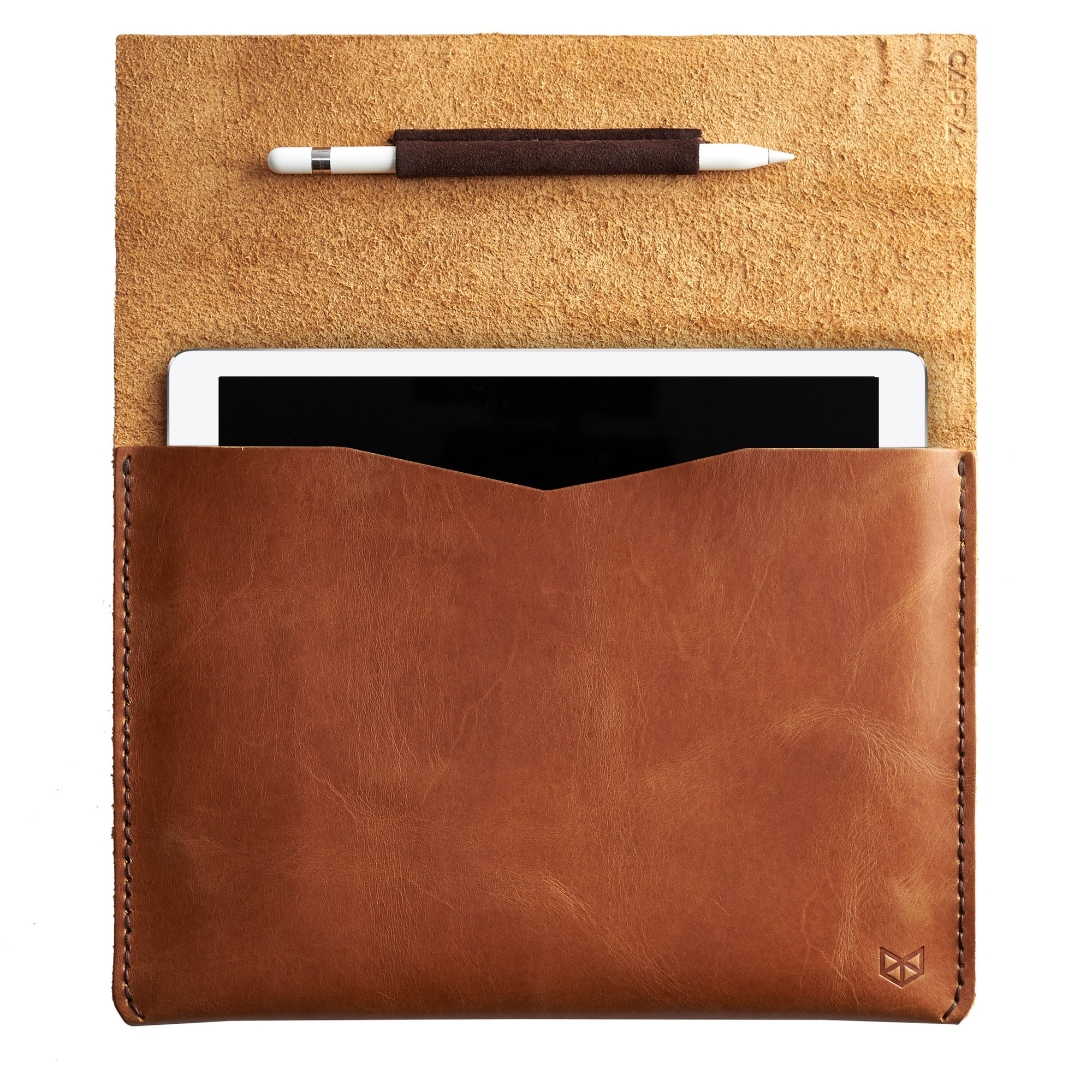 iPad pro sleeve, light brown color. Unique mens leather case for tablet