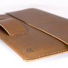 Macbook pro touch bar leather sleeve. Tan brown leather folio for mens gifts.