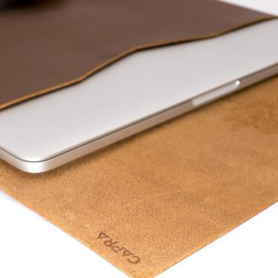 Soft interior. Havana leather Macbook pro touch bar sleeve. Designer unique mens cases. Hand stitched Macbook Pro sleeve