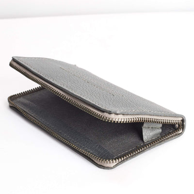Linen interior detail. Grey Carefully handcrafted leather case stand wallet for new Google Pixel 2 and 2 XL. Men's Pixel sleeve with card holder,