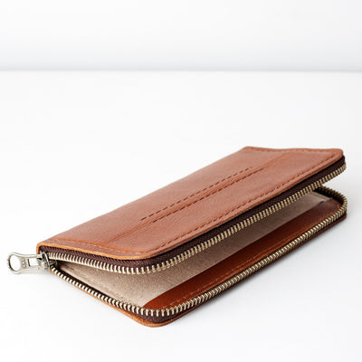 Linen interior. Carefully handcrafted brown leather case stand wallet for new Google Pixel 2 and 2 XL. Men's Pixel sleeve with card holder. Crafted by Capra Leather.