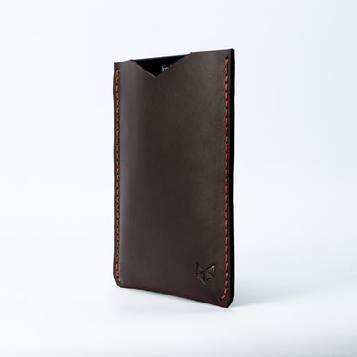 Side. Front. Marron Leather Kindle Cover. Hand stitched Case. Designer Kindle Case. Gifts for him
