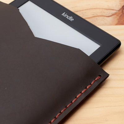 Detail. Front. Marron Leather Kindle Cover. Hand stitched Case. Handmade Kindle Case. Gifts for him