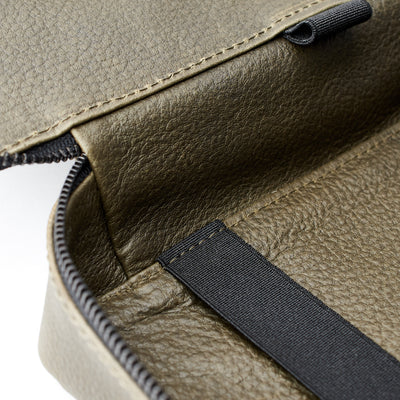 Leather detail. Green leather 15 inch gadget bag, tech dopp kit, electronic organizer. Fits iPad Pro with Apple pencil.