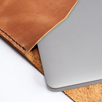 Custom personalized folio for men. Leather Dell XPS Sleeve Case by Capra Leather