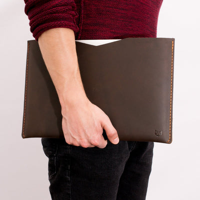 Style photo. Dark brown leather case for Macbook Pro Touch Bar. Macbook Pro Retina leather sleeve. Hand stitched mens cases
