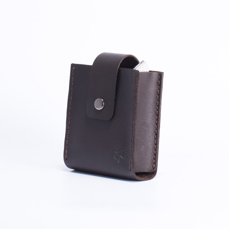 Dark brown Apple charger leather bag. Office supplies. Cable organizers. Macbook Pro charger leather bag for mens gifts