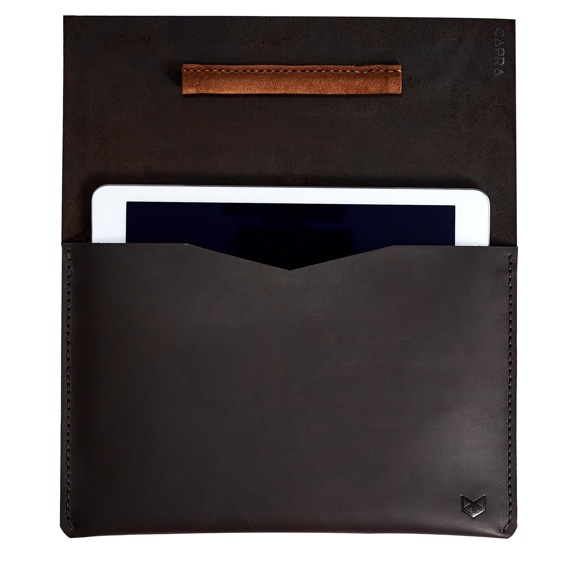 Open. Marron iPad pro leather sleeve. Mens leather iPad case for gift