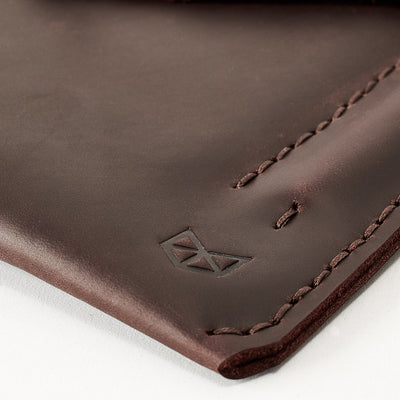 Hand stitched case. Dark brown leather sleeve for ASUS Zenbook Pro Duo. Mens gifts