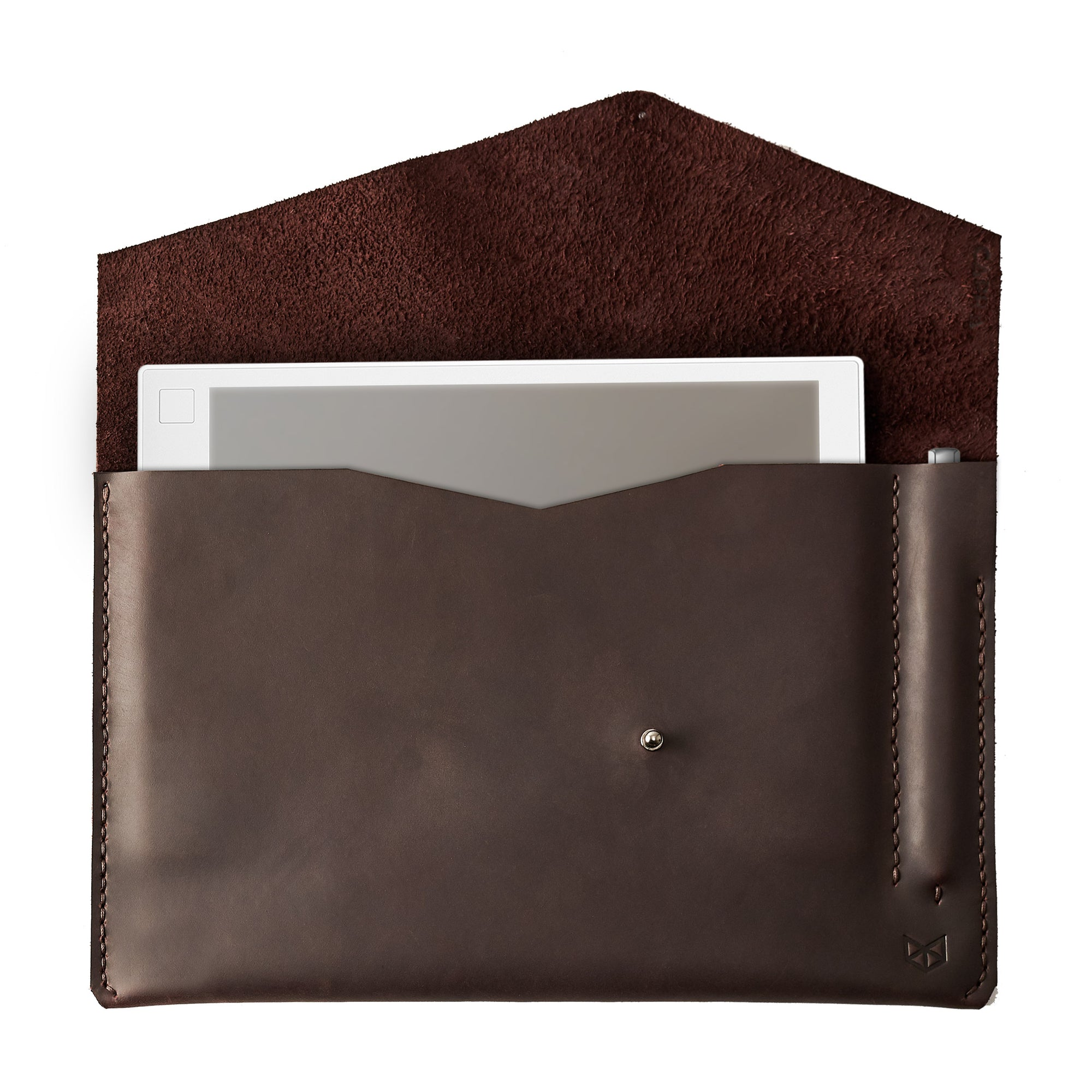 Cover. Dark brown handcrafted leather reMarkable tablet case. Folio with Marker holder. Paper E-ink tablet minimalist sleeve design.