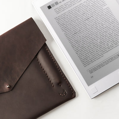 new reMarkable. Dark brown handcrafted leather reMarkable tablet case. Folio with Marker holder. Paper E-ink tablet minimalist sleeve design.