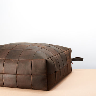Brown Leather square floor cushion pillow.