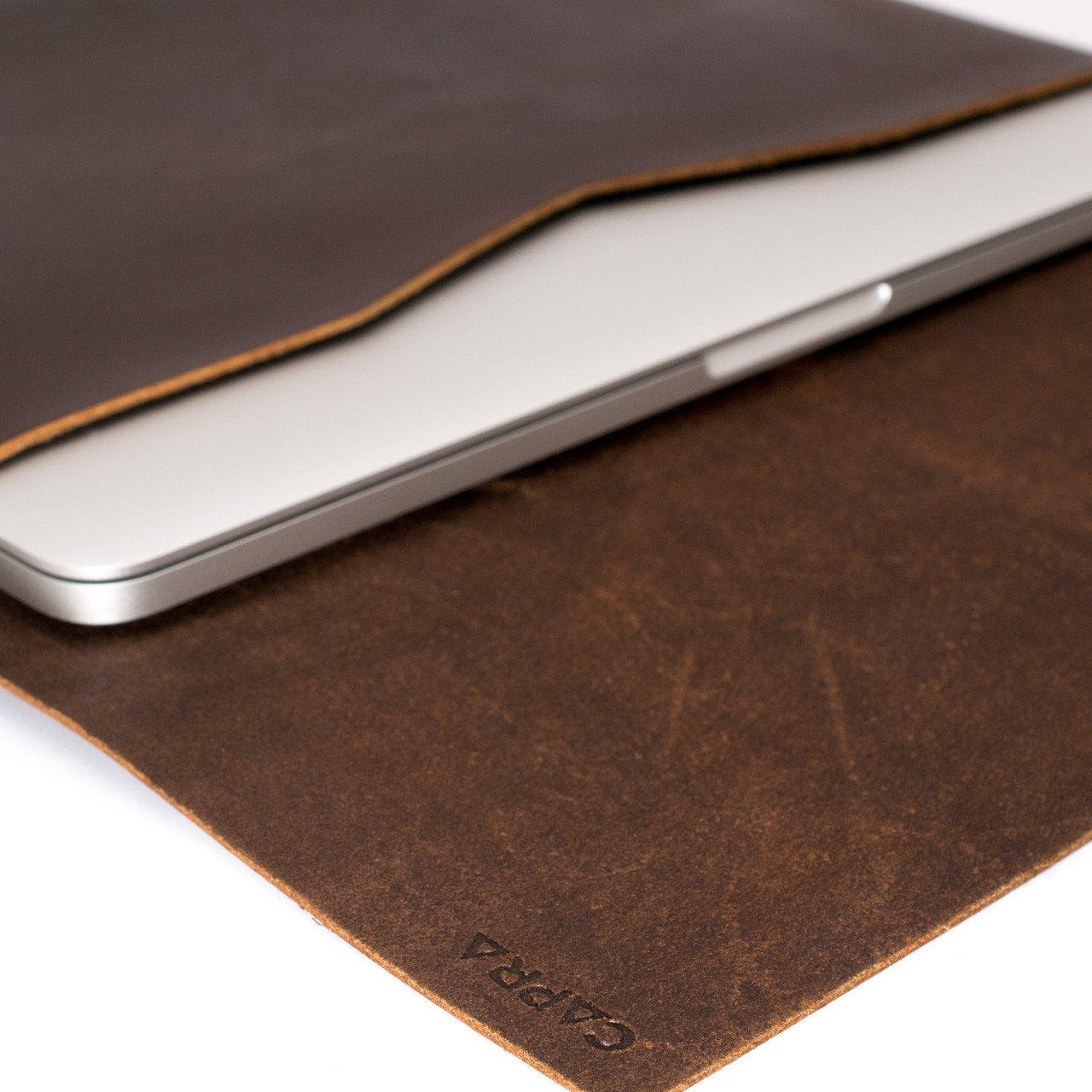 Closed dark leather case for Google Pixelbook laptop