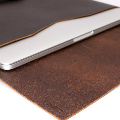 Soft interior. Dark brown leather Macbook pro touch bar sleeve. Designer unique mens cases. Hand stitched Macbook Pro sleeve